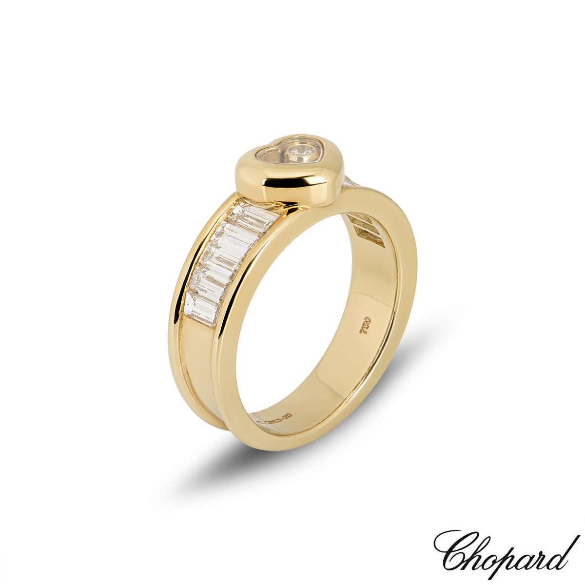 Chopard 18k Yellow Gold Happy Diamond Heart Ring 82/2853-20